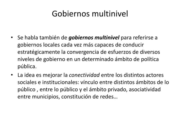 Gobiernos multinivel