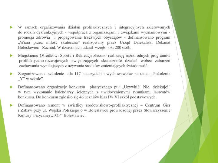 W ramach organizowania działań profilaktycznych i integracyjnych skierowanych
