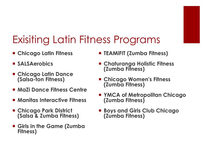 Exisiting Latin Fitness Programs