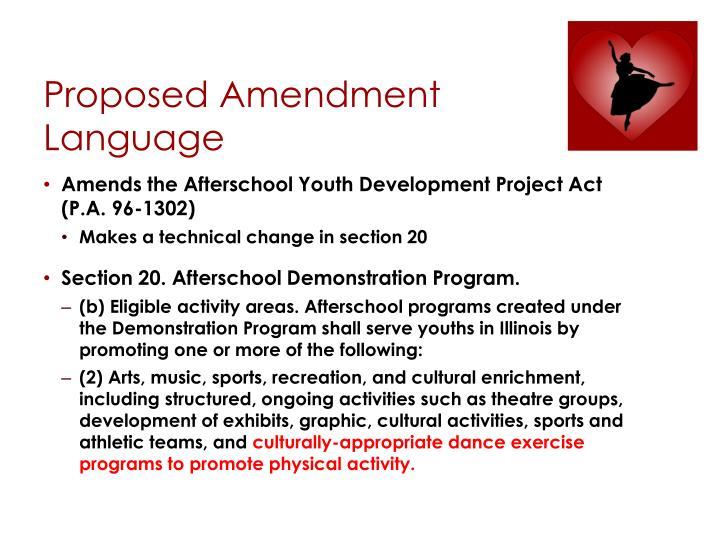 Proposed Amendment Language