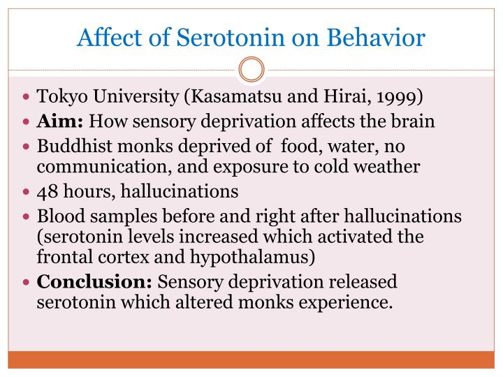 Affect of Serotonin on Behavior