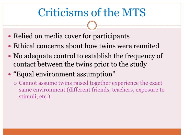 Criticisms of the MTS