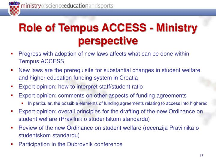 Progress with adoption of new laws affects what can be done within Tempus ACCESS
