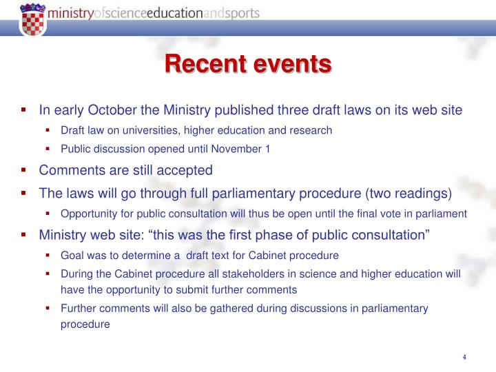 In early October the Ministry published three draft laws on its web site