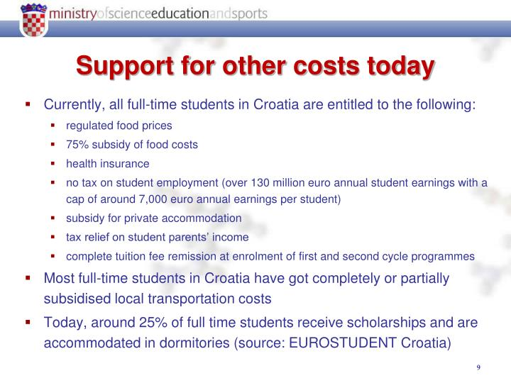 Currently, all full-time students in Croatia are entitled to the following: