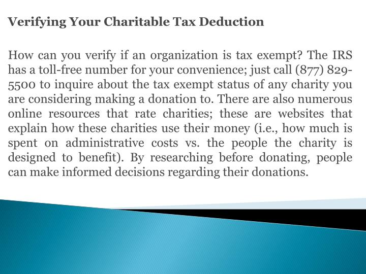 Verifying Your Charitable Tax Deduction