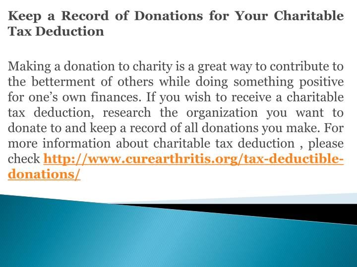 Keep a Record of Donations for Your Charitable Tax Deduction