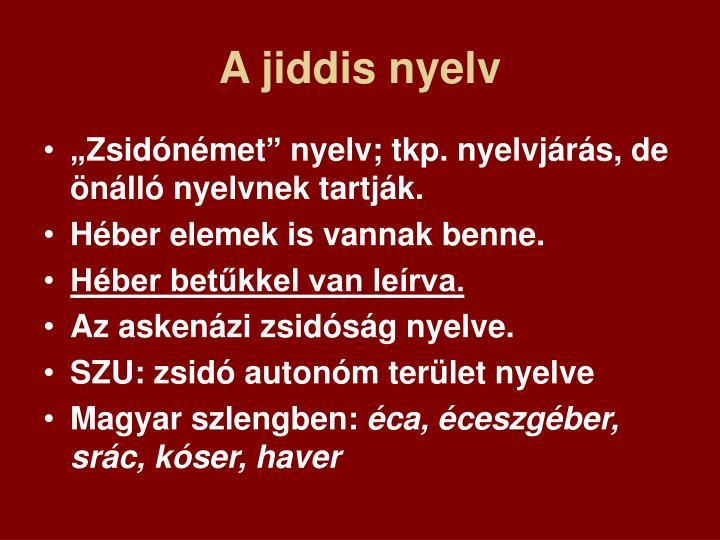 A jiddis nyelv