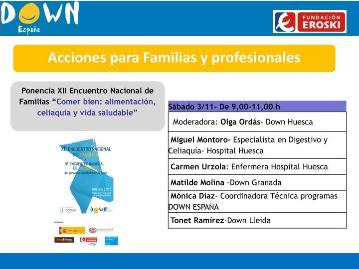 Acciones para Familias y profesionales