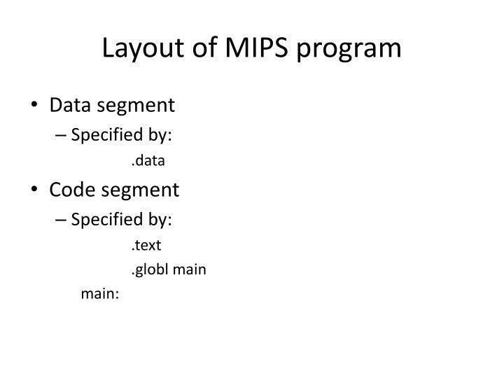 Layout of mips program