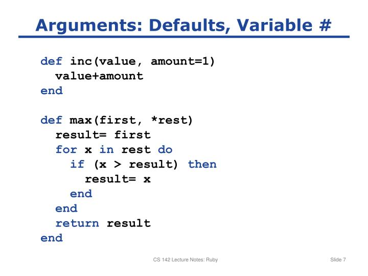 Arguments: Defaults, Variable #