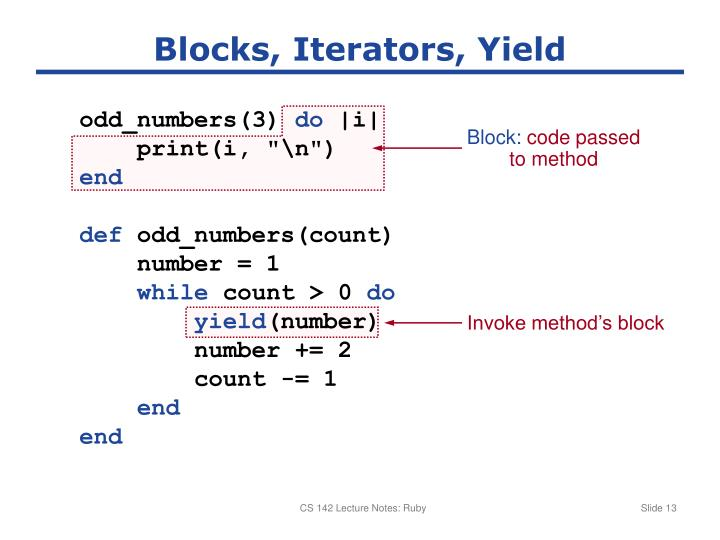 Blocks, Iterators, Yield