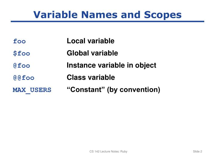 Variable names and scopes