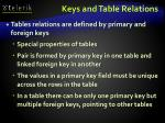keys and table relations