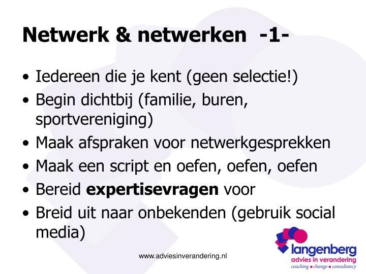 Netwerk & netwerken  -1-