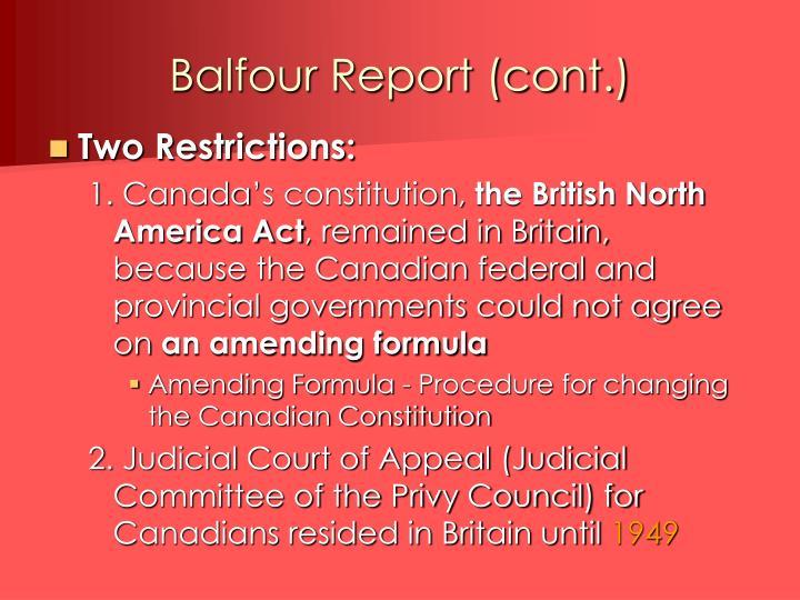 Balfour Report (cont.)