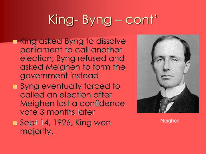 King- Byng – cont'