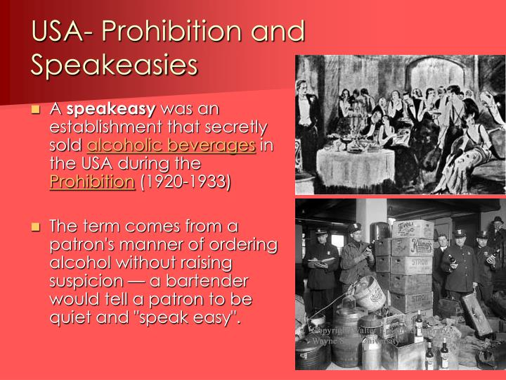 USA- Prohibition and Speakeasies