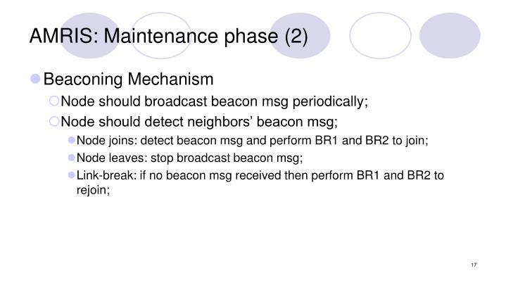 AMRIS: Maintenance phase (2)