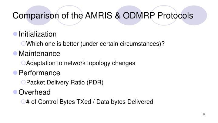 Comparison of the AMRIS & ODMRP Protocols