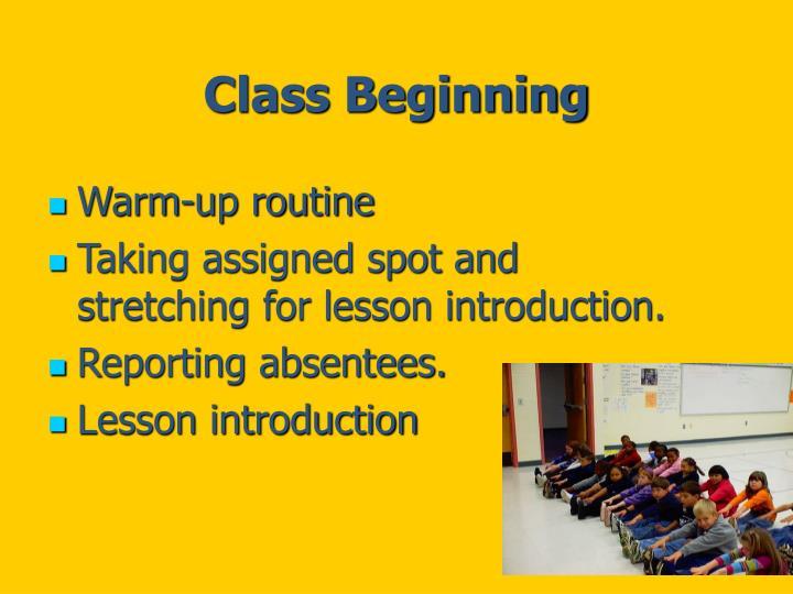 Class Beginning