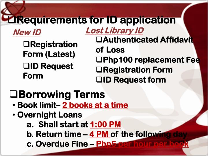 Requirements for ID application