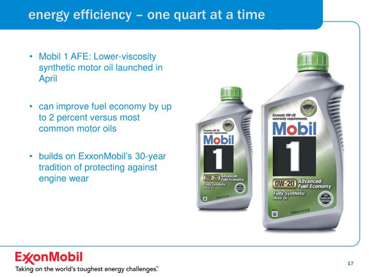 energy efficiency – one quart at a time