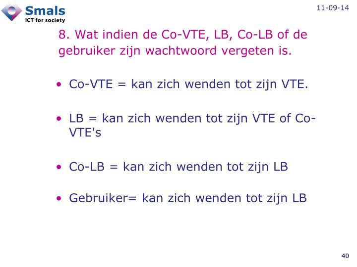 8. Wat indien de Co-VTE, LB, Co-LB of de gebruiker zijn wachtwoord vergeten is.