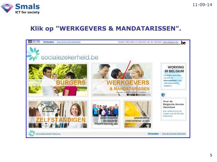 """Klik op """"WERKGEVERS & MANDATARISSEN""""."""