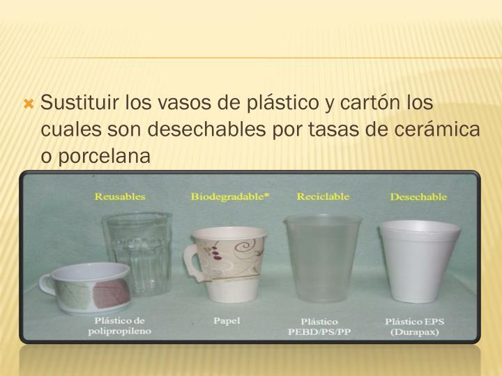 Sustituir los vasos de plástico y cartón los cuales son desechables por tasas de cerámica o