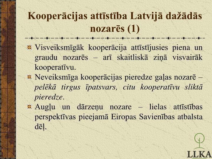 Kooperācijas attīstība Latvijā dažādās nozarēs (1)