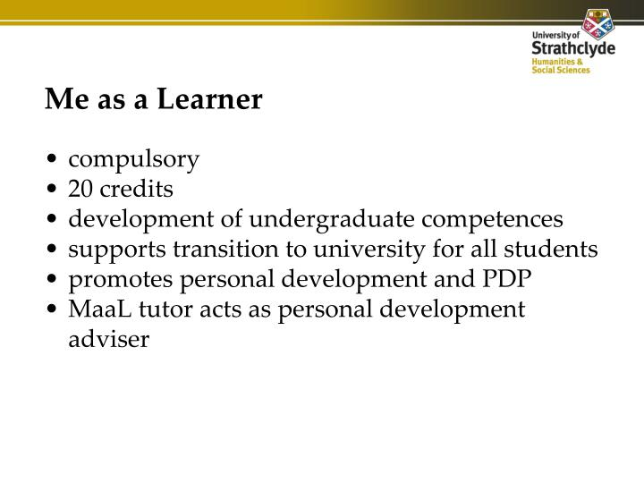 Me as a learner
