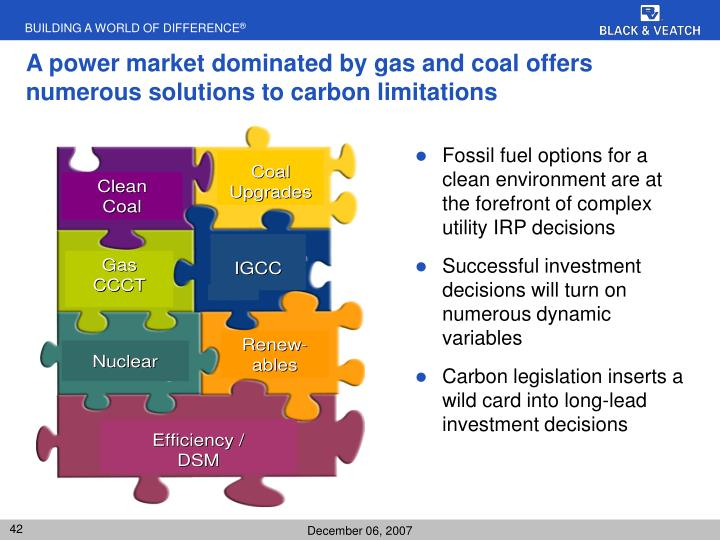 A power market dominated by gas and coal offers numerous solutions to carbon limitations