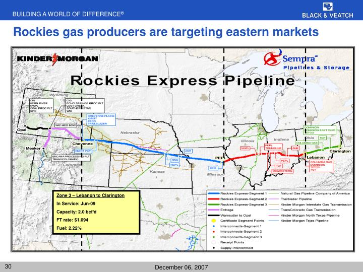 Rockies gas producers are targeting eastern markets