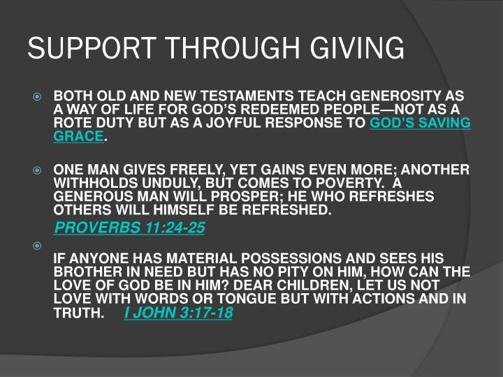 Support through giving