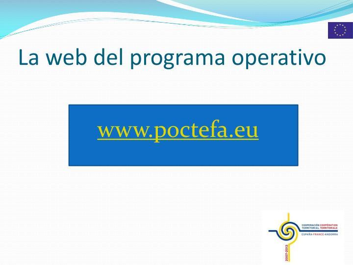 La web del programa operativo