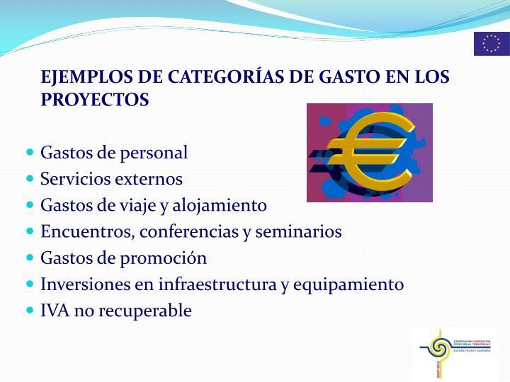 EJEMPLOS DE CATEGORÍAS DE GASTO EN LOS PROYECTOS