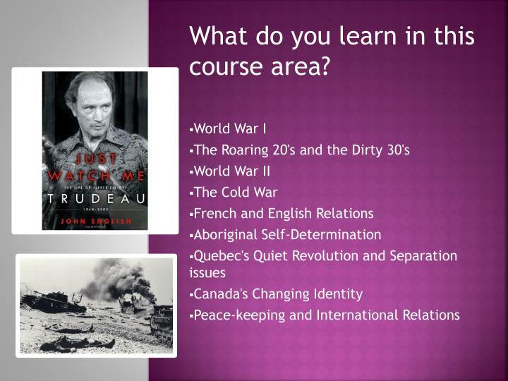 What do you learn in this course area?