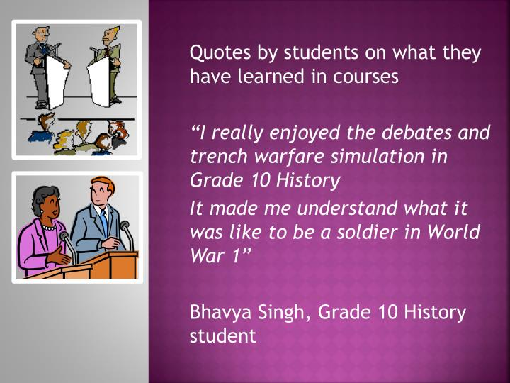 Quotes by students on what they have learned in courses