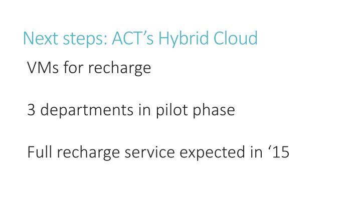Next steps: ACT's Hybrid Cloud