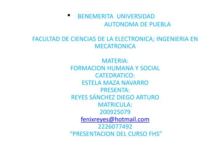 BENEMERITA  UNIVERSIDAD