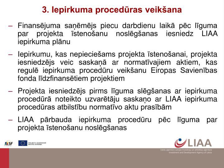 3. Iepirkuma procedūras veikšana