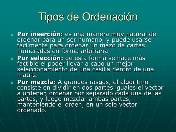 Tipos de Ordenación