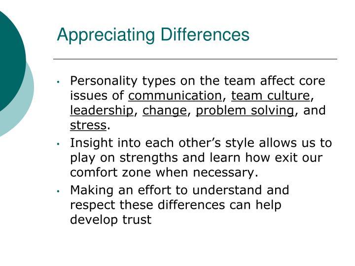 Appreciating Differences
