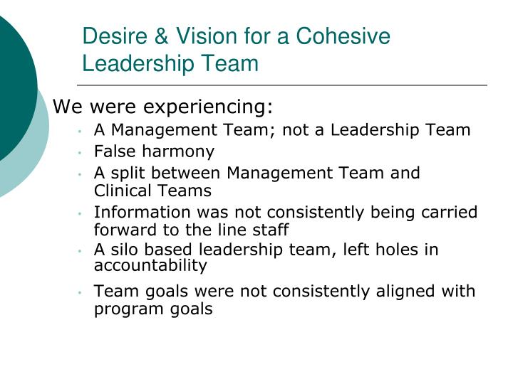 Desire & Vision for a Cohesive Leadership Team