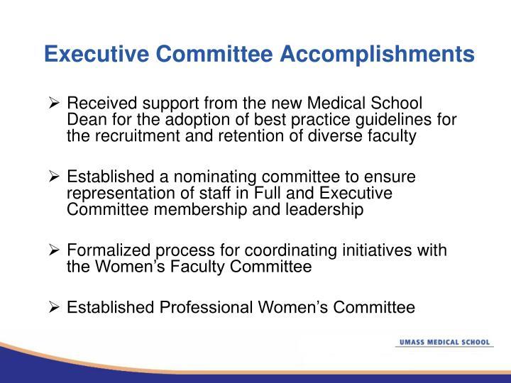 Executive committee accomplishments
