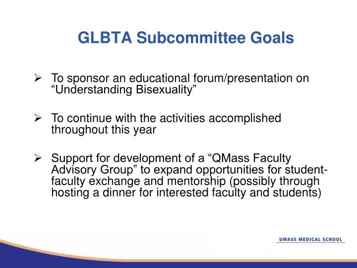 GLBTA Subcommittee Goals