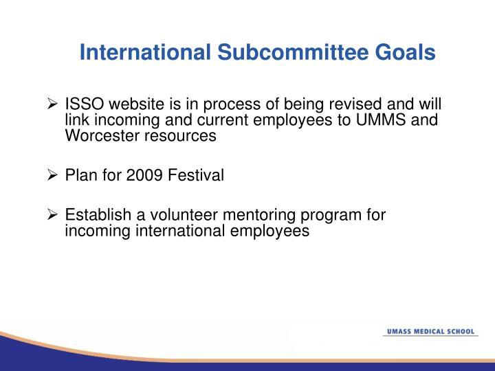 International Subcommittee Goals