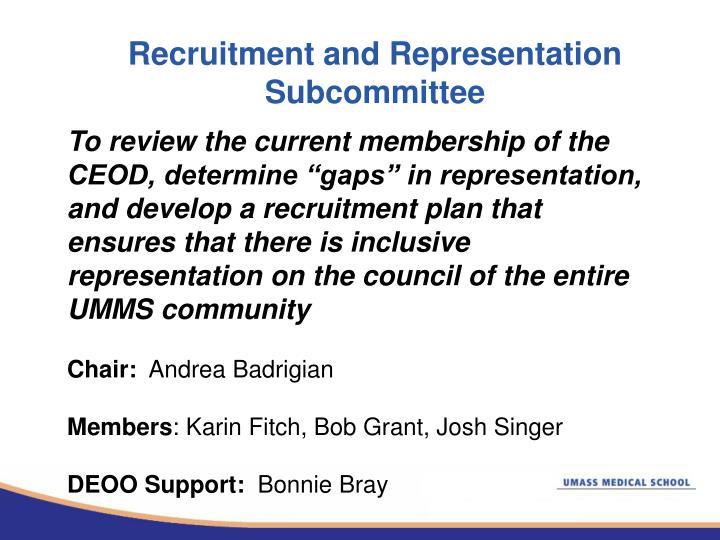 Recruitment and Representation