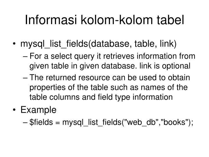 Informasi kolom-kolom tabel